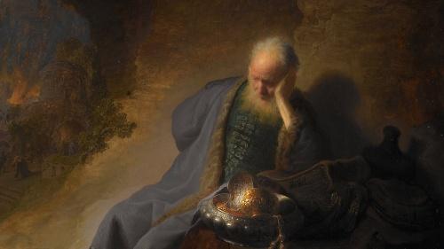 Representación del profeta Jeremías entristecido por la toma de Jerusalén.