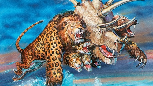 Artist illustration of the beast mentioned in Revelation 13.