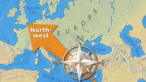 Mapa que ilustra el movimiento migratorio de pueblos del medio oriente al noroeste de Europa.