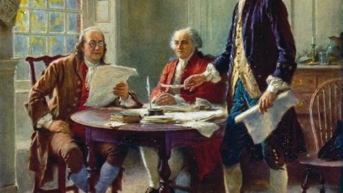 Benjamin Franklin, John Adams y Thomas Jefferson redactan la Declaración de Independencia, la cual concluyeron con una plegaria a Dios.