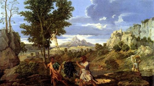 """Representación de uvas en """"Otoño"""" de Nicolas Poussin"""