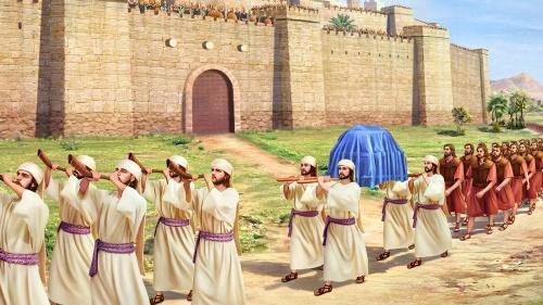 Trompetas suenan; derrumbe del Jericó