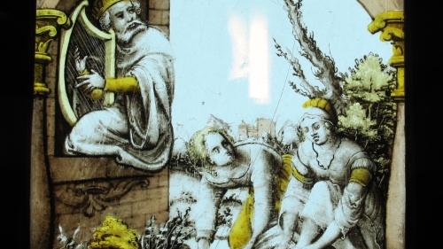 David mira a Betsabé desde la terraza del palacio mientras ella se bañaba