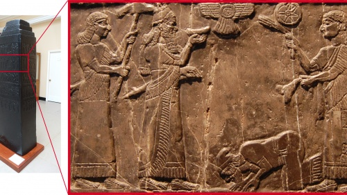 El obelisco Negro de Salmanasar III, hoy en el Museo Británico. En la figura de la derecha,  Jehú inclinándose ante Salmanasar