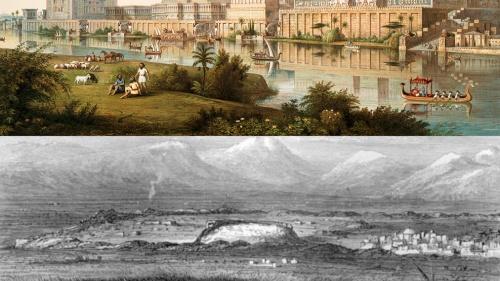 Arriba, una ilustración del Palacio de Ninive. Abajo, las ruinas del mismo, conocidas como el montículo de Tell Kuyinjik.