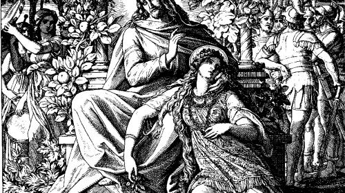 Las doncellas del harén miran en poca a la nueva integrante; mientras El Rey Salomón no logra conquistar a la joven sulamita que solo piensa en su novio