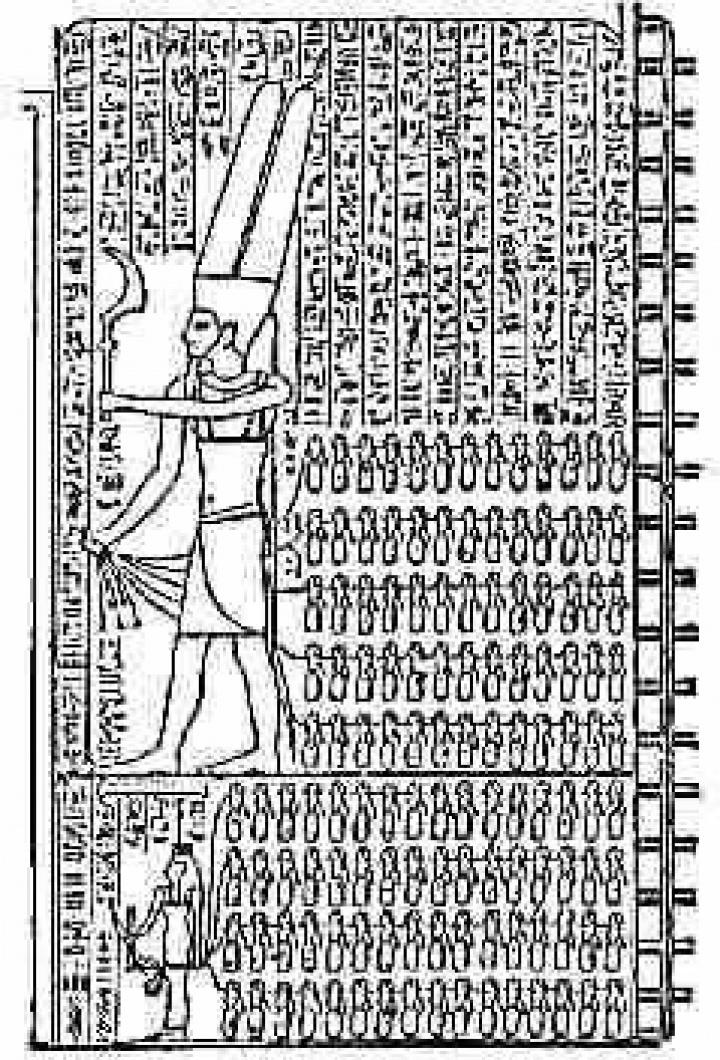 Ciudades o aldeas representadas por un cautivo - El dios Amón y (abajo) su esposa la diosa Tebas.