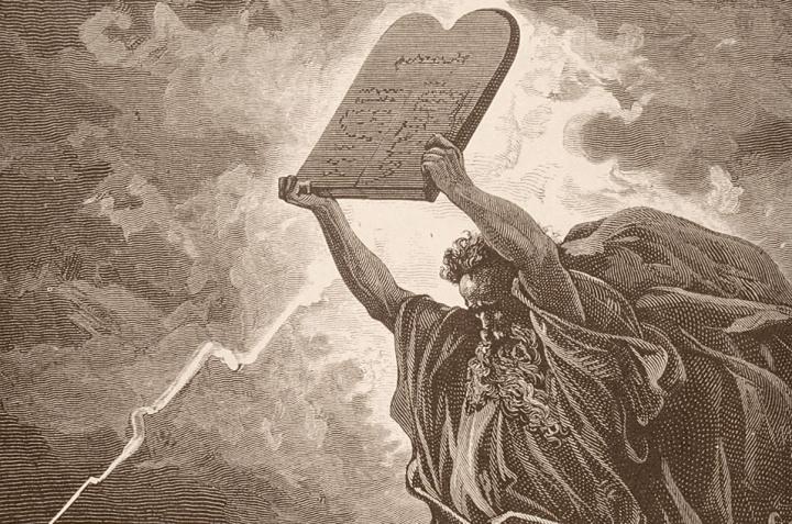 Artist illustration of Moses holding the Ten Commandments
