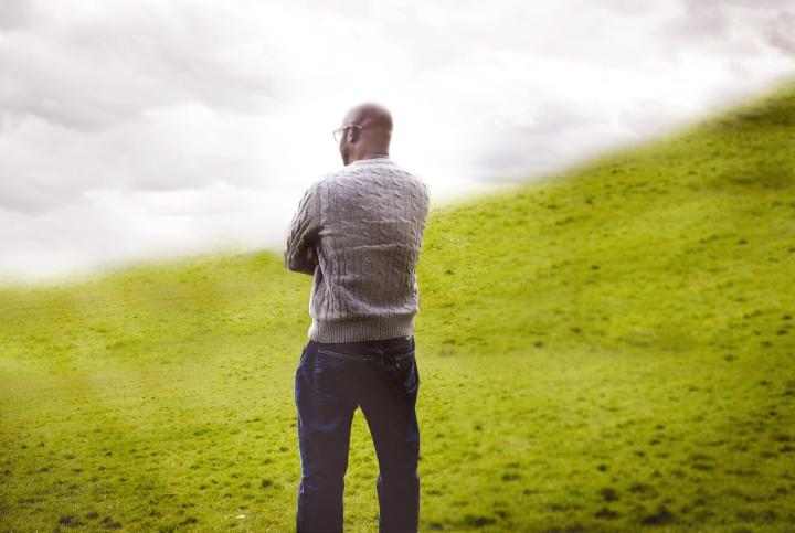 Man standing in a field.