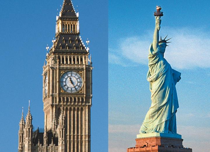 El reloj Big Ben en London, Inglaterra y la Estatua de la Libertad en Nueva York, Estados Unidos.