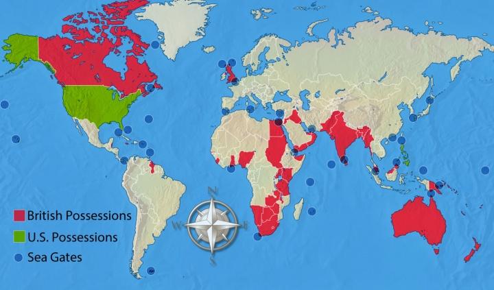Un mapa mundial que muestra las posesiones británicas y estadounidenses junto con las principales puertas de mar.