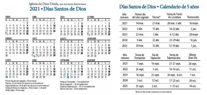 Calendario de Fiestas Santas 2021-2025