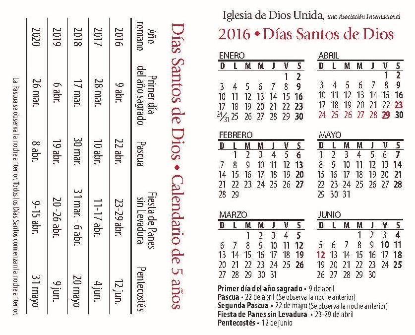 Calendario Días Santos de Dios