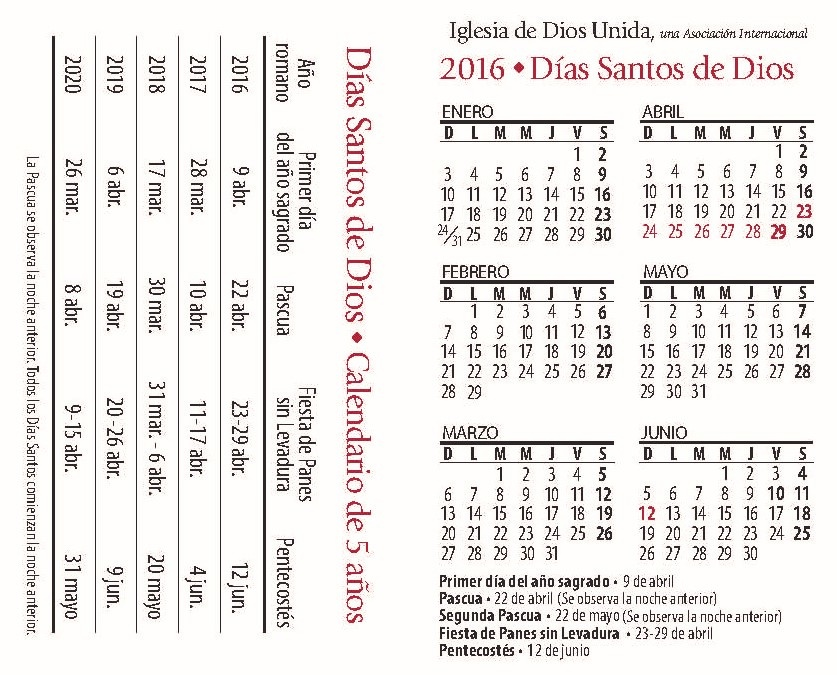Calendario Con Santos.Calendario De Los Dias Santos De Dios 5 Anos Iglesia De Dios Unida
