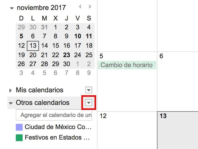 """Encuentre la pestaña """"Otros calendarios"""""""