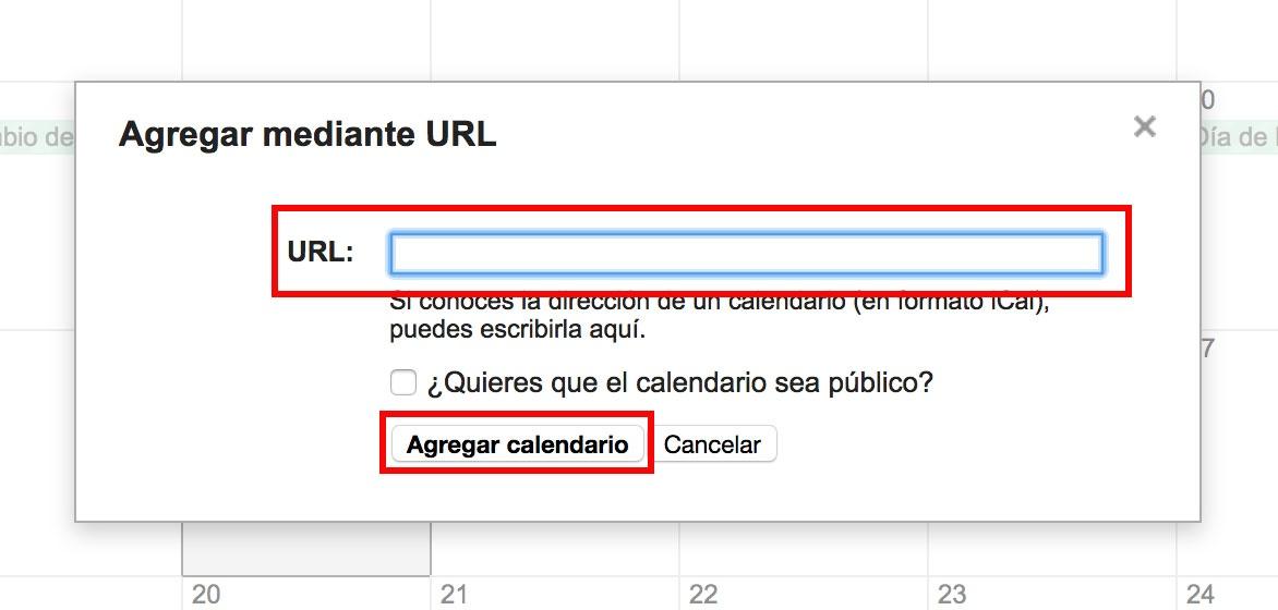 """Pegue la dirección URL administrada en la casilla. Luego haga clic en """"Agregar calendario""""."""